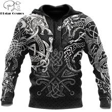 Viking Wolf And Dragon Tattoo 3D Printed Men Hoodies Sweatshirt Unisex Streetwear Zipper Pullover Casual Jacket Tracksuit KJ0197