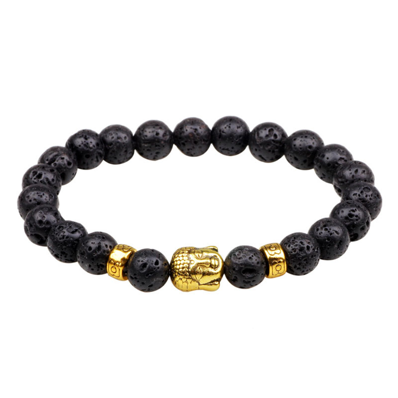 Mens tiger eye stone buddha beads bracelet