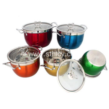 Colorful 5 Piece Cooks Stainless Steel Cookware Set