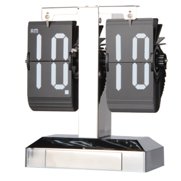 Flip Clock Silver Case con luz decorativa