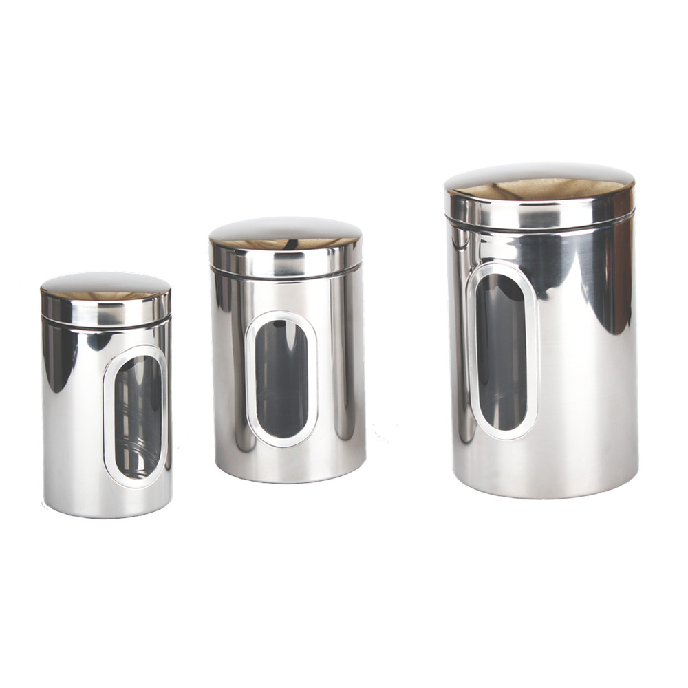 Set Of 3 Stainless Steel Canister