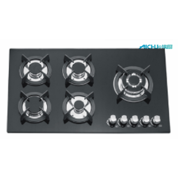 5 Burners Tempered Glass Gas Hob Top