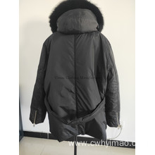 Warm Black Down Jacket with Hood