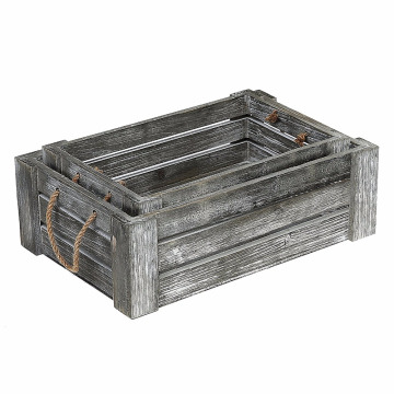 Decorative Whitewashed Gray Nesting Storage Crates with Twisted Rope Handles, Set of 2
