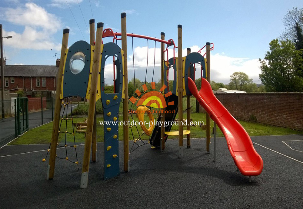 outdoor plastic climbing slide playground structure for kids