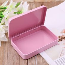 Pink Organizer Case Small Metal Storage Box For Currency Money Candy Key Eye Shadow Portable Gift Box