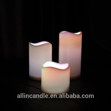 Yellow Light Flameless Real Wax LED Pillar Candle