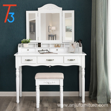 vanity table set, tri-folding necklace hooked mirror 6 organizers makeup dressing makeup desk with drawers cushioned stool