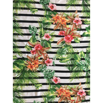 Stripe Flower Rayon Challis 30S Light Printing Fabric