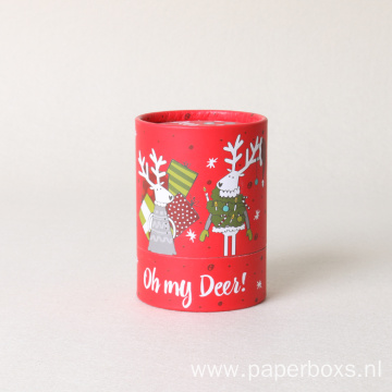 Custom Printed Kraft Paper Gift Round Christmas Box