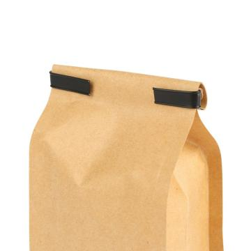 Fulcolor printing 100% compostable kraft paper bag with tin tie