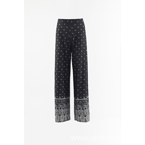 Print rayon fabric loose pants