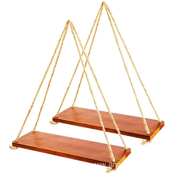 Hung Natural jute Wood Hanging Swing Rope Floating Shelves