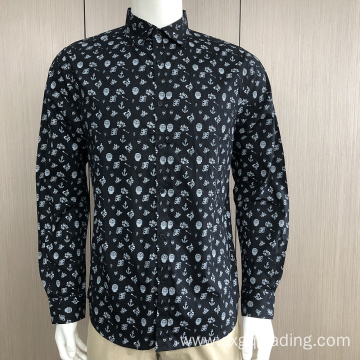 Men's 100%cotton print long sleeve shirt