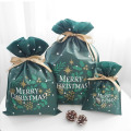 Green Christmas Drawstring Gift Bags with Tags