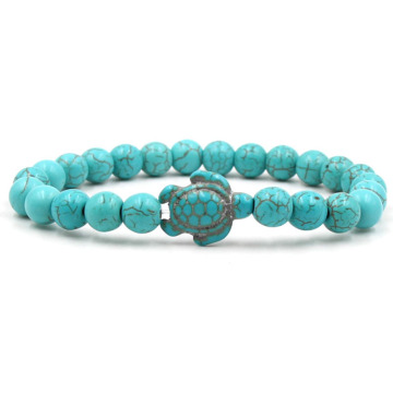 Lucky mens turquoise turtle bead bracelet