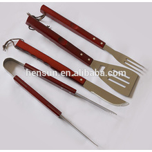 4-Piece Professional Wooden Handle BBQ Grill Tool Set