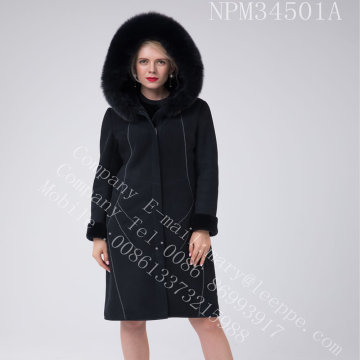 Australia Merino Shearling Coat Bright Thread Decoration