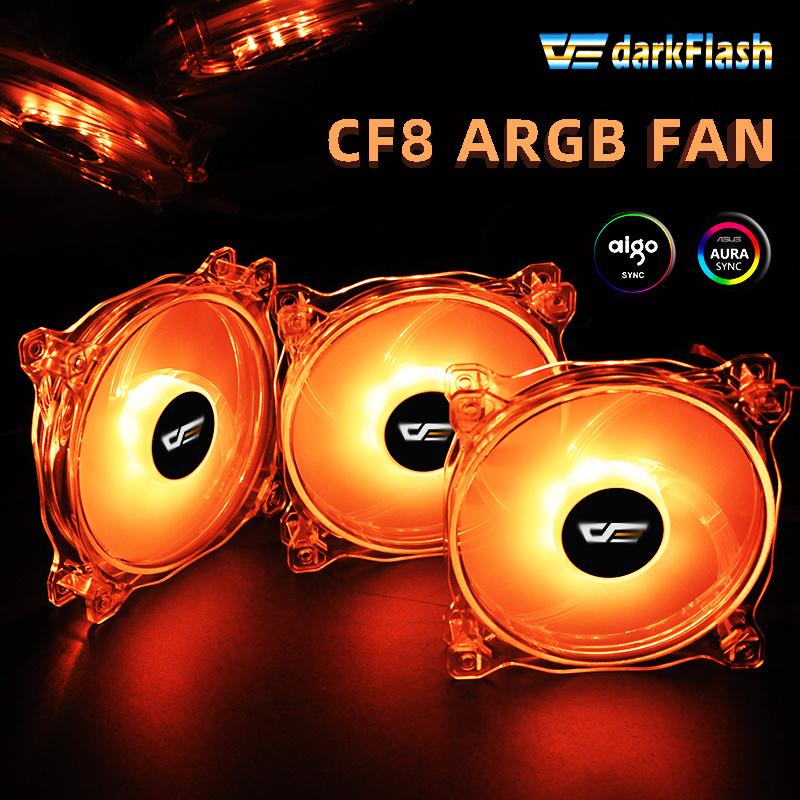 Darkflash CF8 PRO PC Case Fan RGB Cooling Fan AURA SYNC 5V3p IR Remote Quiet desktop Computer Case LED fan CPU Cooler Radiator