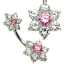 Double Jewelled Pink Flower Belly Button Bar