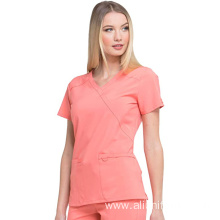 Med Couture Energy Racerback V-Neck Shirttail Scrub Top Women