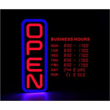 Vertical LED Open Closed Sign with digital business hours