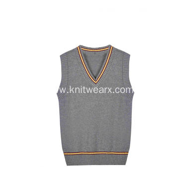 Boy's Knitted Contrast Stripe V-Neck School Vest