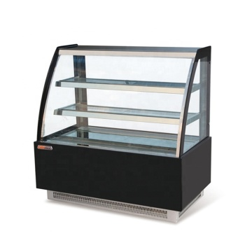 small showcase curved glass table display refrigerator