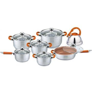 13pcs cookware set with cooper coating