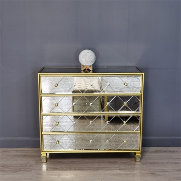 golden painting antique mirror 4 drawer chest