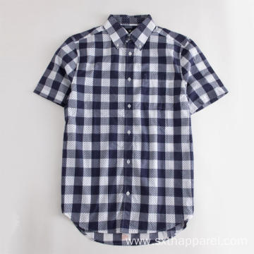 Plaid Short Sleeved Curved Hem Cotton Check Shirt