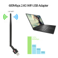 600Mbps Wireless USB WiFi Adapter Dongle 2.4GHz Network LAN Card 802.11b/g/n Standard with 2dBi Detachable Antenna for Computers