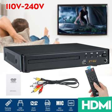 1080P Full HD Multi Region HDMI DVD Player Home Theater System Stereo Video VCD Disc CD Player Music Player With Remote Control