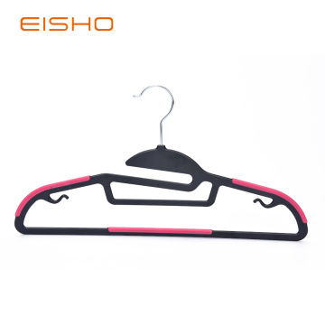 Non-Slip Plastic Hangers With Red Rubber Pieces