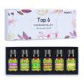 KIUNO 6pcs Gift Box Aroma Oil 10ML Essential Oils Kits Lavender Peppermint Lemon Tea Tree Eucalyptus Frankincense Oil Essential