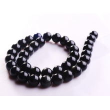12MM Natural Black Obsidian Round Semi Precious Stone Beads 16""