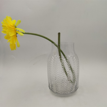 Embossed Pattern Crystal Glass Vase