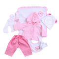 Reborn Baby Doll Accessories Pink Little Bear Pattern Clothes Set For 20-22 Dolls Toy For Children Educational Toy Birthday Gift