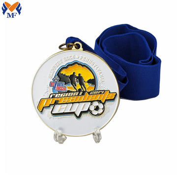 Metal soccer enamel medals ribbon for sale