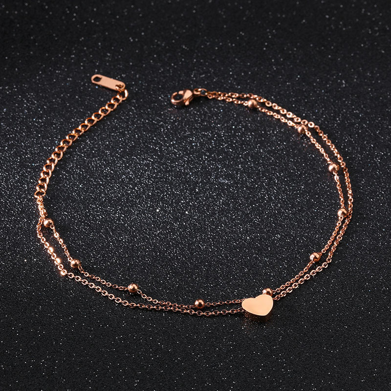 Diy rose gold heart ankle chain bracelet