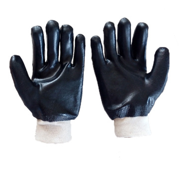 Black Pvc Coated Glove.Smooth Finish.Interlock Liner