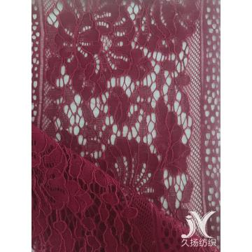 Wine Corded Cotton Nylon Rayon Lace