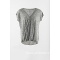 Novelty grey short sleeve cap sleeve pullover