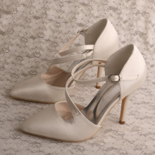 Ivory Satin Black Pointed High Heel Wedding Party Shoes