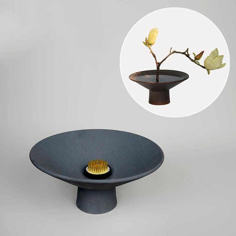 Zen Black Ceramic Coarse Pottery Vase High Foot Flower Pot Desktop Hydroponics Bonsai Ceramic Planters Japanese Style Ikebana