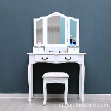 Tri-Folding Mirror Vanity Dressing Table