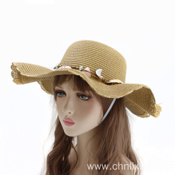 Wave profile summer beach bucket straw hat