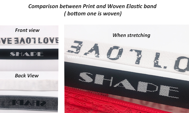 comparison between woven and print elastic band