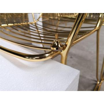 2020 hot sale wrought iron chairs gold color