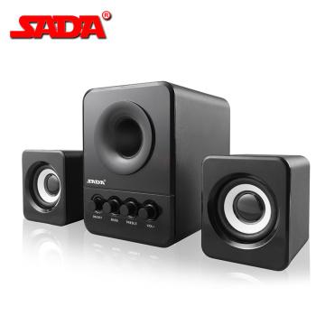 SADA D-203 USB Wired Combination Speaker Computer Speaker Bass Stereo Music Player Subwoofer Sound Box for Desktop Laptop PC